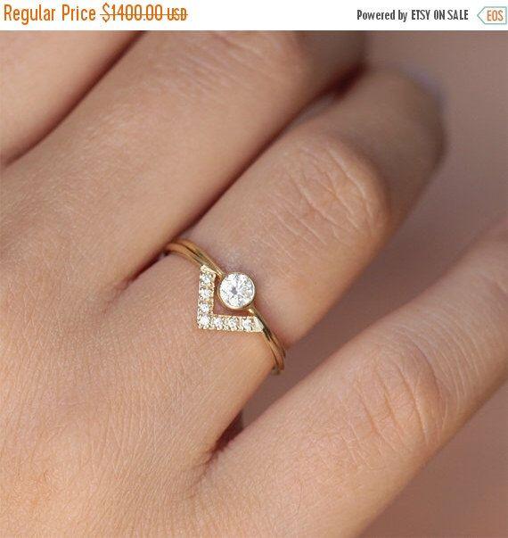 ON SALE Wedding Set - Simple Round Diamond Ring & Pave Diamond V ring - 18k Gold by artemer on Etsy https://www.etsy.com/listing/198699881/on-sale-wedding-set-simple-round-diamond