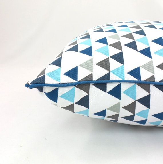 Preorder Teepee Triangle Geometric Cushion blue by AlphabetMonkey