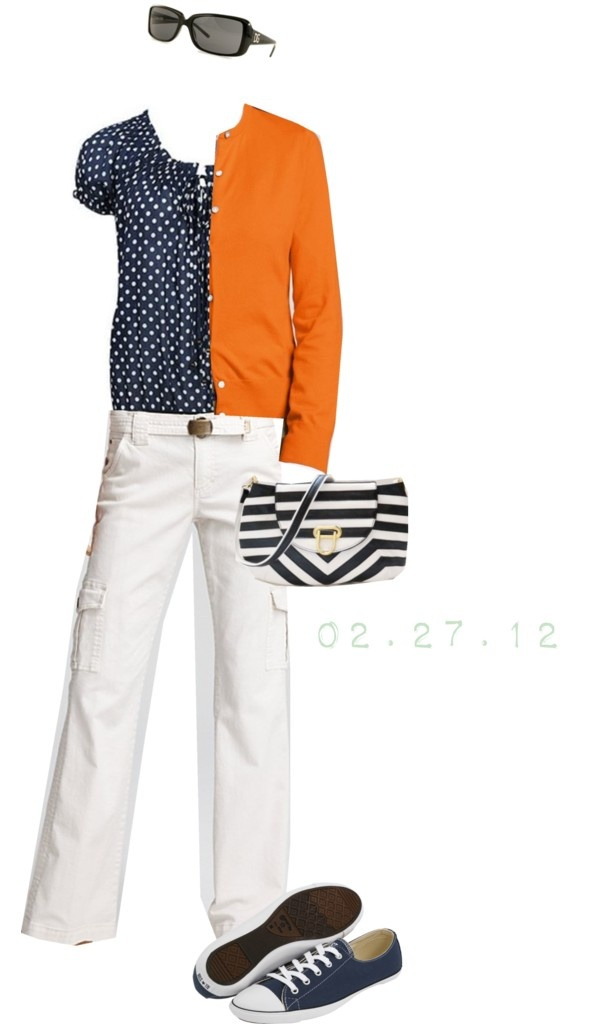 @To complete: blue converse, orange cardigan, navy polka dot top@