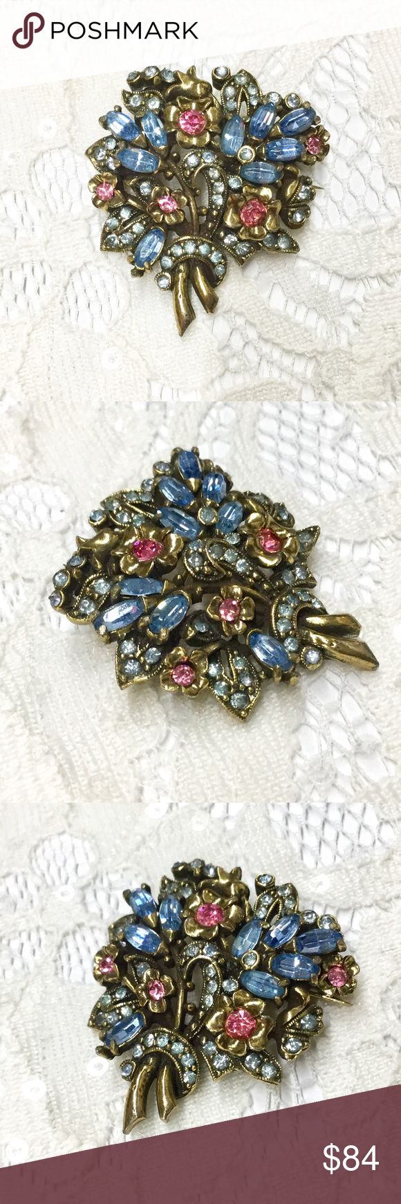 Vintage Hollycraft Pastel Floral Bouquet Brooch Vintage signed Hollycraft COPR 1950 floral bouquet brooch.  Pastel pink and blue rhinestones in a soft gold tone setting.  Very dreamy romantic! Hollycraft Jewelry Brooches