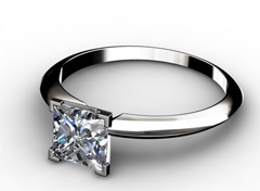 Diamant Verlobungsring Prinzessin, 750er Weißgold 18 Karat