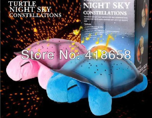 2PCS Baby Toy!Turtle LED Night Light + USB Cable Music Lights Mini Projector 4 Colors 4 Songs Star Lamp Children Toys Tortoise $25.98