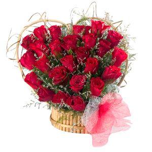 24 Red Roses Heart Shaped Arrangement  to Bangalore, Karnataka Rs. 954 / USD 15.90