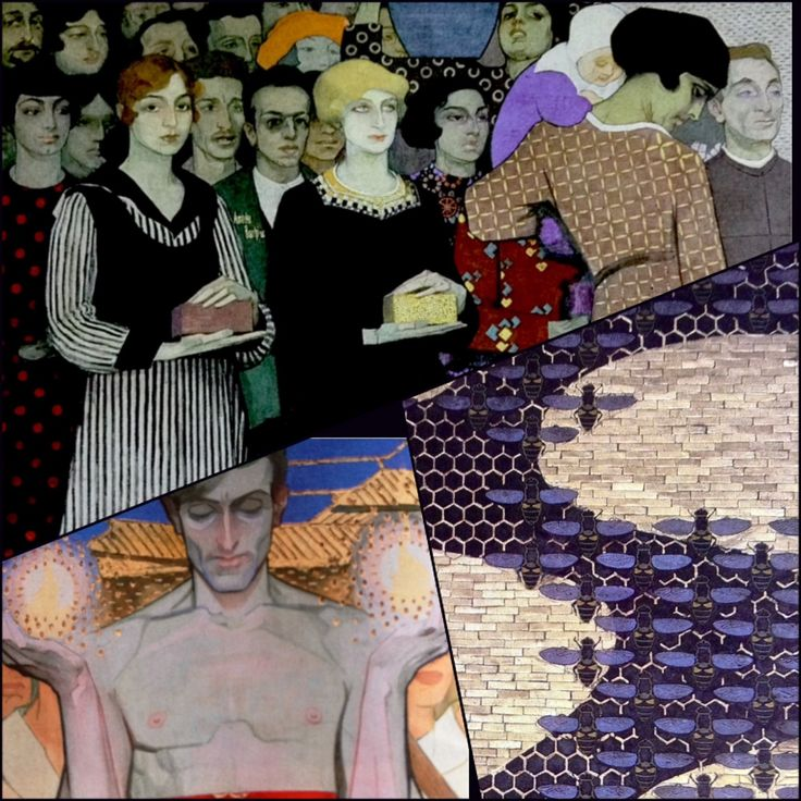 Amedeo Bocchi (1883 - 1976)  1) UP: The Shaving (particular), 2) ON THE LEFT: The Protection (particular), 3) ON THE RIGHT: Bees and honeycombs (mosaic). 1916 -Cassa di Risparmio di Parma - Fresco in the boardroom