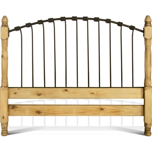 Rustic Woven Iron and Western Pine Headboard - Mansion
