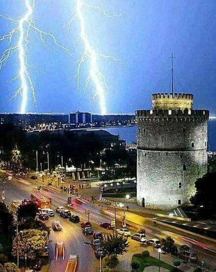 Thessaloniki by night in winter,  Macedonia Greece