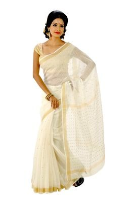 White colour hand-woven silk saree