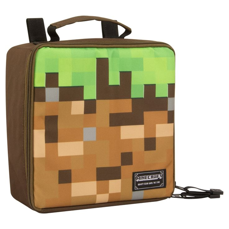 """Minecraft video gamers will love this """"Dirt Block"""" lunch kit.  Fully insulated interior keeps your lunch cold for hours.  Velcro tabs for attaching to your backpack."""