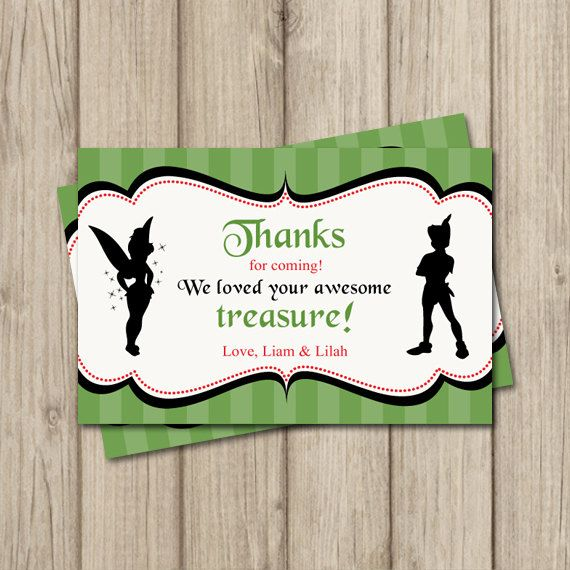 Pixies and Pirates Birthday Thank You Card! Tinkerbell and Peter Pan