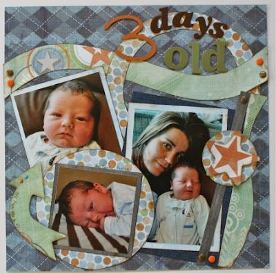 3 Days Old: Designed by Susan using Cascade Trails, Rings, Playtime, Tiny Shapes, Tiny Accents, Mini Aspen, Mini Strips, Photos. Fancy Pants Paper