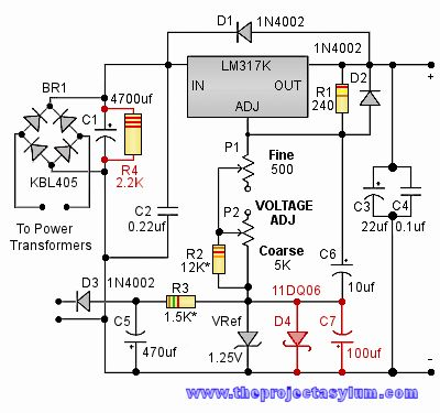 Schematic drawing of improved version of home-built test bench power supply circuit.
