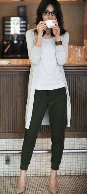 #fall #outfits  women's white cardigan, black dress pants, and white shirt