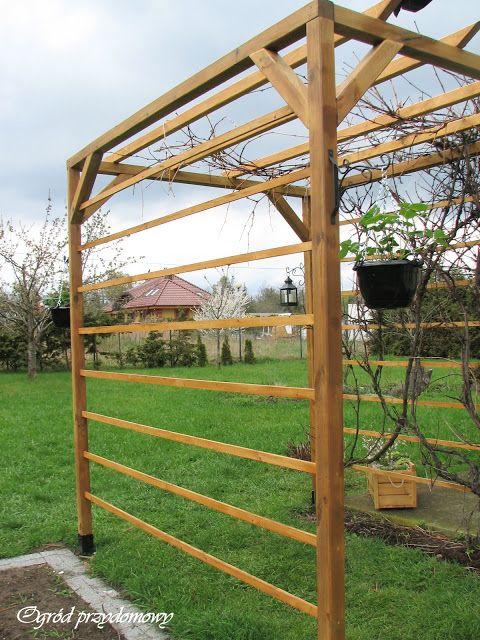 Ogród przydomowy, drewniana pergola