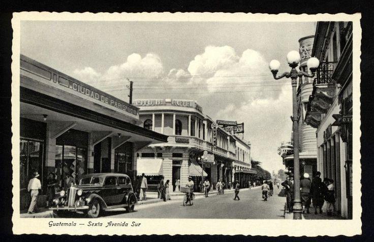 Guatemala Sexta Avenida Sur Real Photo Postcard Street scene 1930s