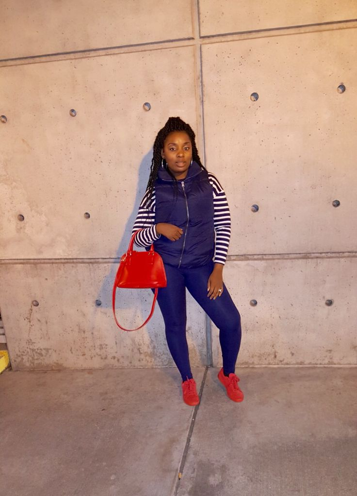 Navy stripes with puffer vest and leggings pop of red #puma #suede #navy #style #puffervest #red