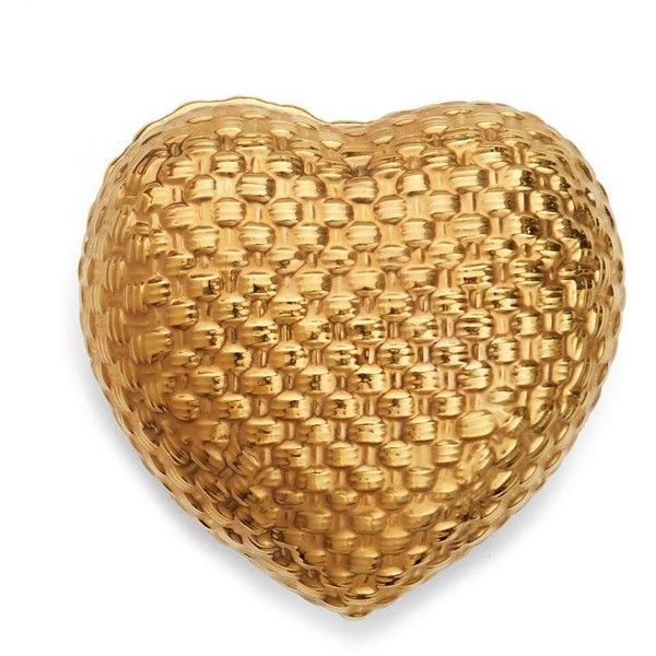 Woven Gold Heart Box ❤ liked on Polyvore featuring home, home decor, gold home accessories, heart home decor and gold home decor