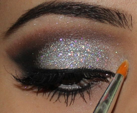 silver. glitter. we should have done this for the angels make up for dance!