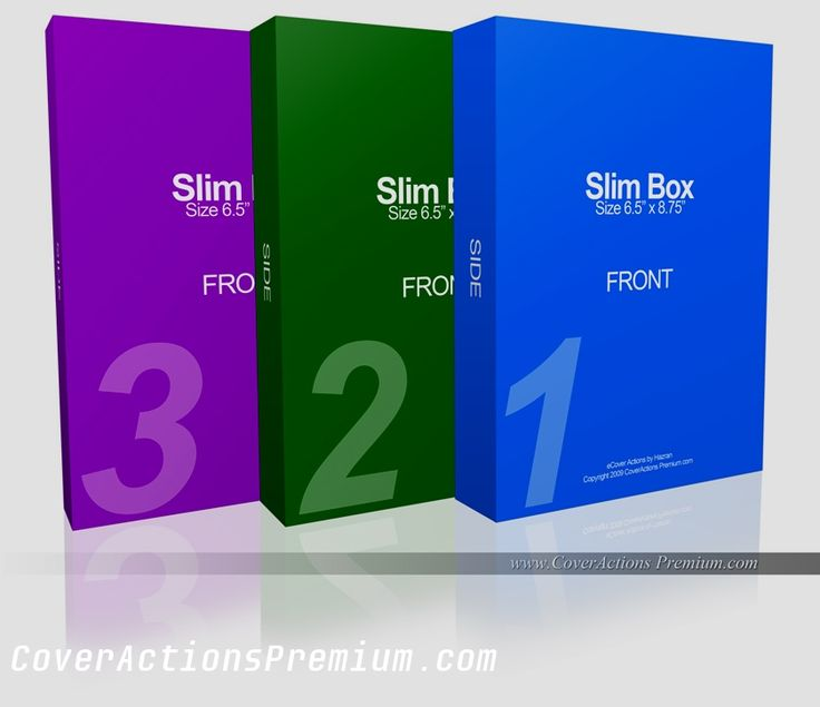 3 Slim Box Set Mockup Photoshop Cover Actions Free Download.