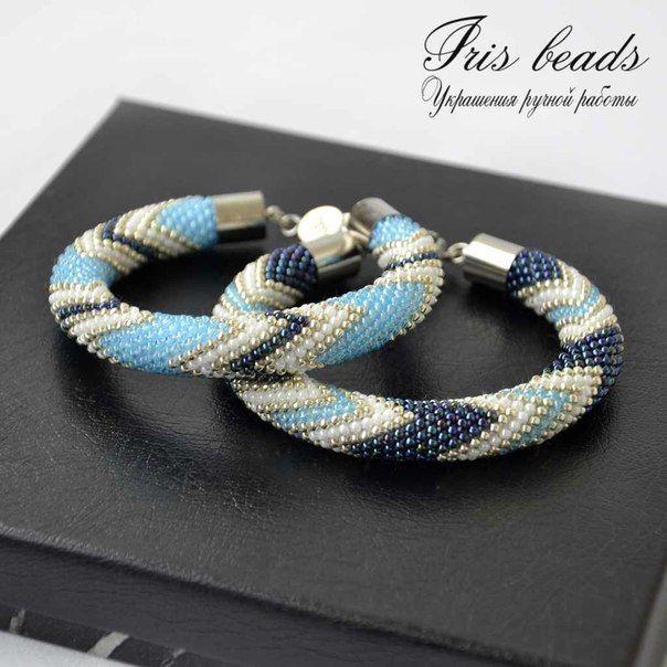 """Купить Комплект браслетов из бисера """"Джинс"""". - жгут из японского бисера, жгут бисерный, джинсовый стиль"""