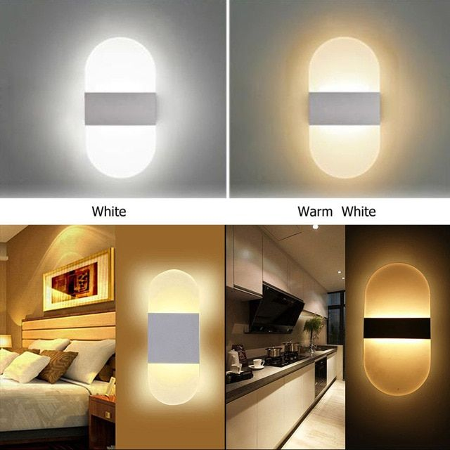 3w 6w Led Aluminium Wall Night Light Lamp Rail Project Round