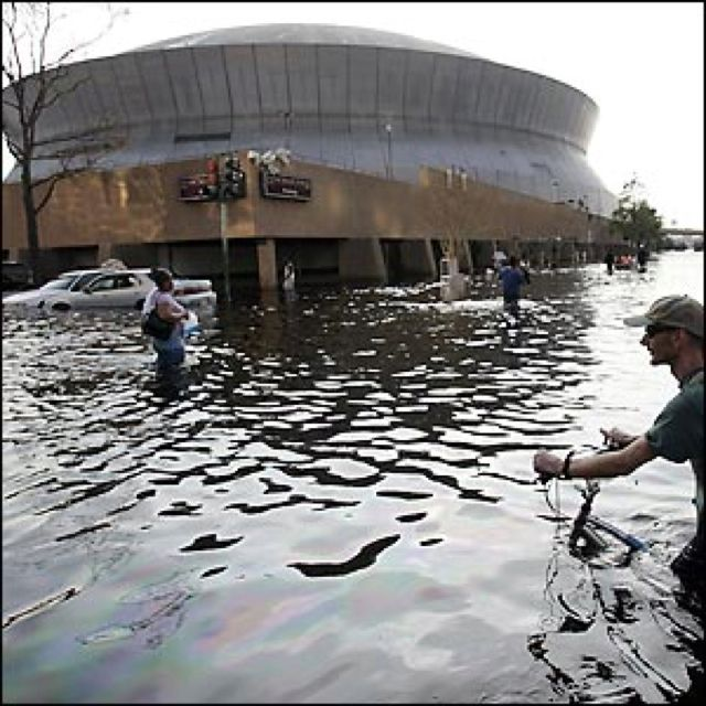 flooding at the Super Dome in New Orleans after Katrina