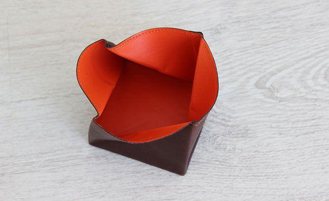 Porte-monnaie homme - modèle Origami - Cuir Marron Brut et Orange Bonze