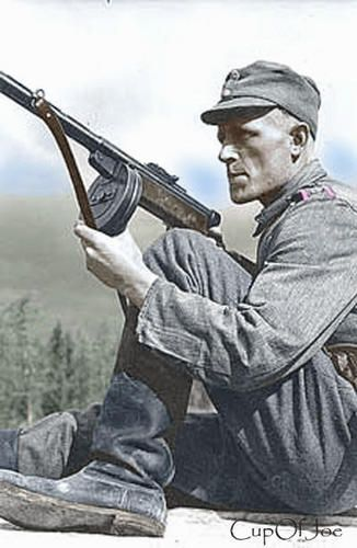 Finnish Soldier with a Suomi SMG