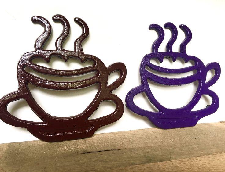 Coffee Mug Decor - Farmhouse Coffee Station - Coffee Cup Decor - Farmhouse Kitchen Wall Decor - Cast Iron Trivet - Modern Farmhouse Kitchen by ShineBoxPrimitives on Etsy https://www.etsy.com/listing/535561252/coffee-mug-decor-farmhouse-coffee