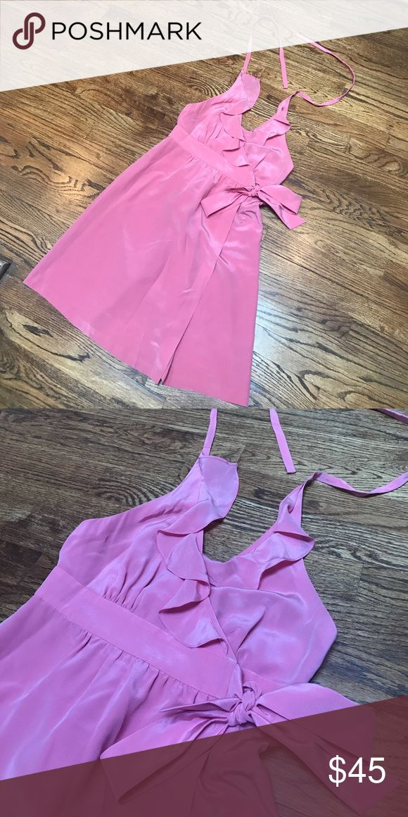 Pink Tibi party dress Ruffled pink halter top dress with wrap tie. Perfect for a summer party or wedding. Tibi Dresses Mini