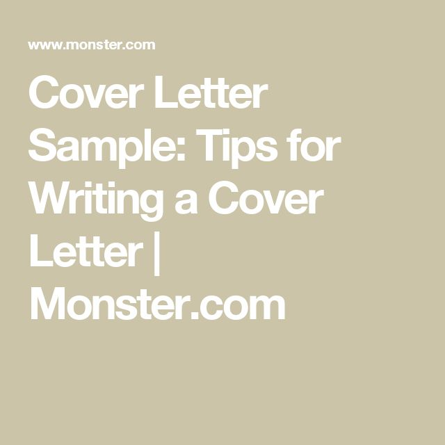 cover letter sample tips for writing a cover letter monstercom. Resume Example. Resume CV Cover Letter
