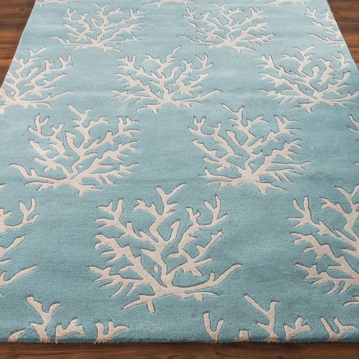 Coral Medallion Hand Tufted Rug spa_blue_ivory
