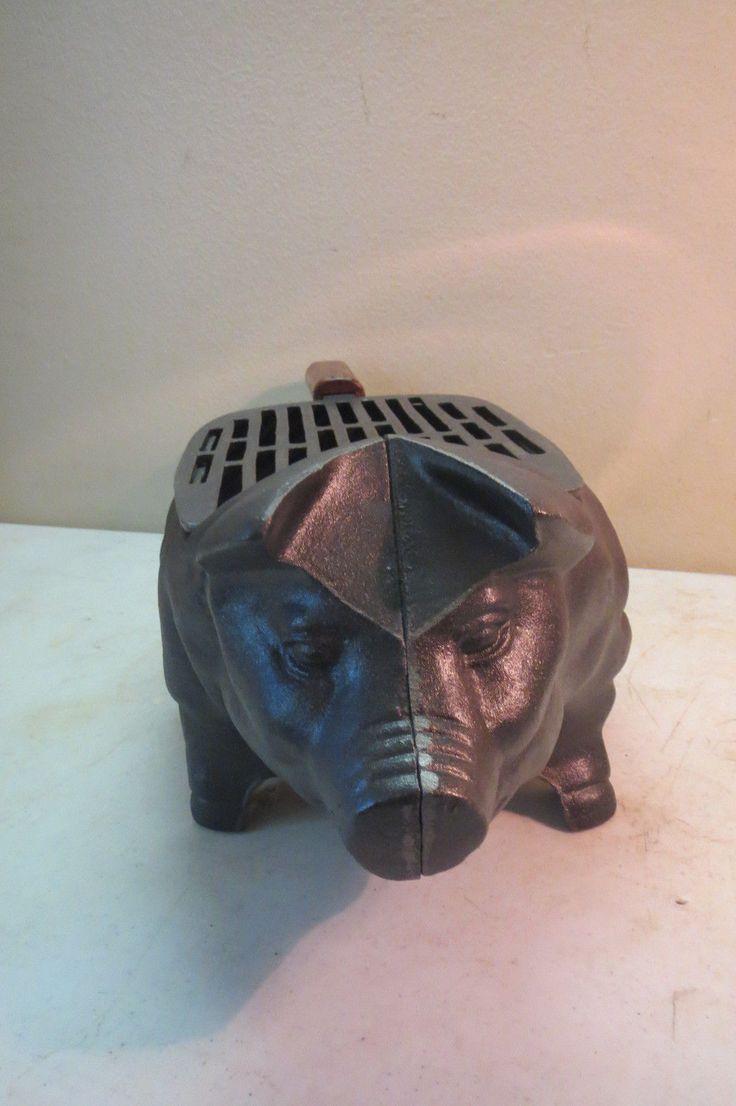 Details about Vintage Cast Iron Pig Shape Hibachi TableTop ...
