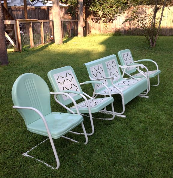 Authentic Vintage J.R. Bunting Set And Cousin. | Vintage Metal Porch Chairs  | Pinterest | Porch, Porch Furniture And Vintage Metal