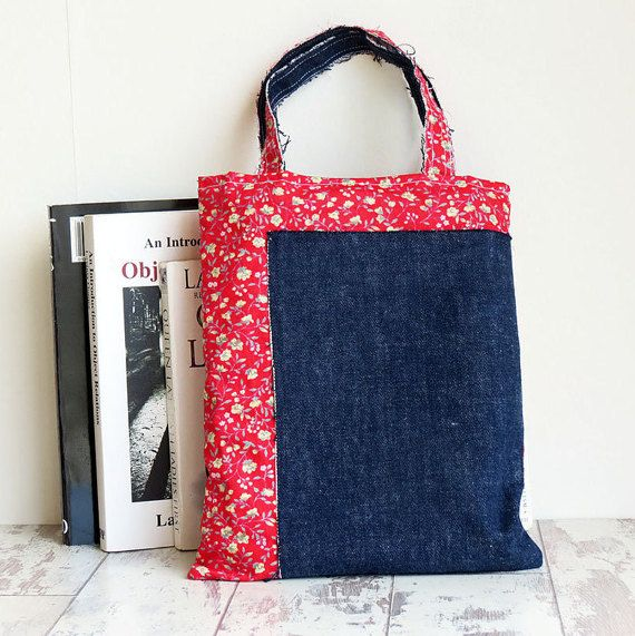 Child Tote Bag Denim Tote Small Lunch Bag by csevenm on Etsy