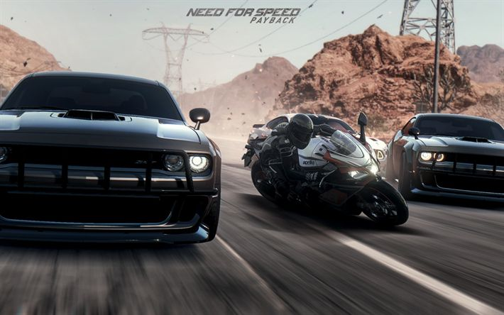 Download wallpapers Need for Speed Payback, 2017, car simulator, dodge challenger, race