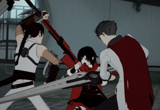 I was seriously so mad at Ruby for interfering in this fight. Qrow needed to focus on Tyrian, not her. She should have stayed back and used her sniper rifle on Tyrian from afar every time he and Qrow separated. Even if she never landed a hit on him, she'd have worn him down quickly from making him dodge all the time. If Qrow hadn't been focused on Ruby, Tyrian would never have landed that hit on him. :-(