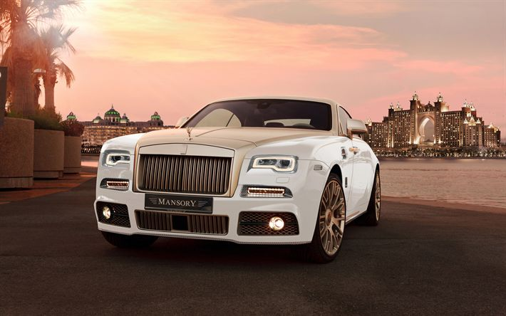 Download wallpapers Rolls-Royce Wraith, Mansory, 2018, Atlantis The Palm, 4k, luxury cars, front view, UAE, Dubai