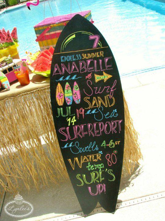 Cumpleaños al aire libre de temática Surf