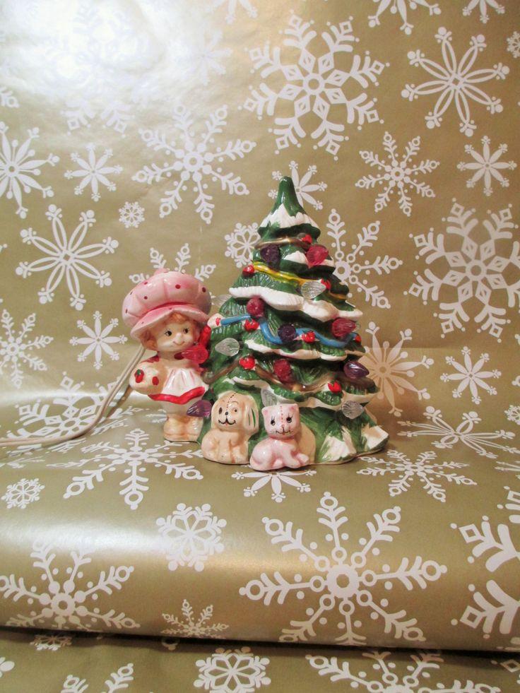 Strawberry Shortcake Christmas Tree, Lighted Ceramic Tree, Berry Merry Christmas, Lighted Xmas Tree, Vintage Ceramic Tree, Pupcake & Custard by LuckyPennyTrading on Etsy