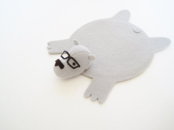 Bear Rug Coaster with Eyeglasses  Keep your table tops free of water rings and burn marks from cold and hot beverages with the cutest coaster ever.