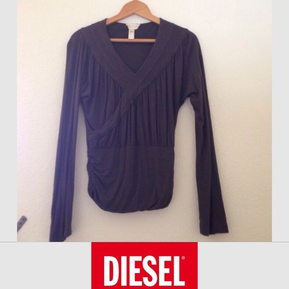 • Sexy DIESEL top • Dark grey v-neck with fitted ruched waist, semi loose fit on top and sleeves. Super sexy  Diesel Tops