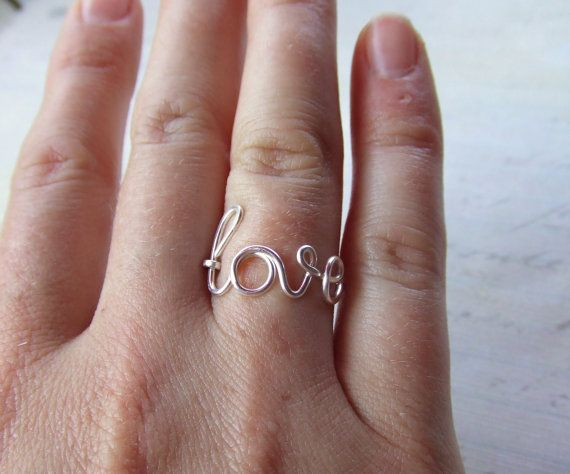 Love Ring Any Size Wire Word Ring Silver by deannewatsonjewelry, $8.95