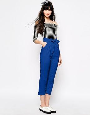 Ingrandisci The WhitePepper - Pantaloni di lino con cintura