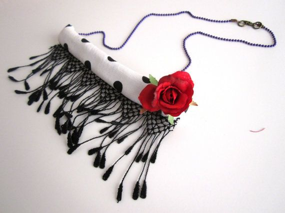 Rose Valentine's Necklace Red Flower Necklace by catyflowerpower