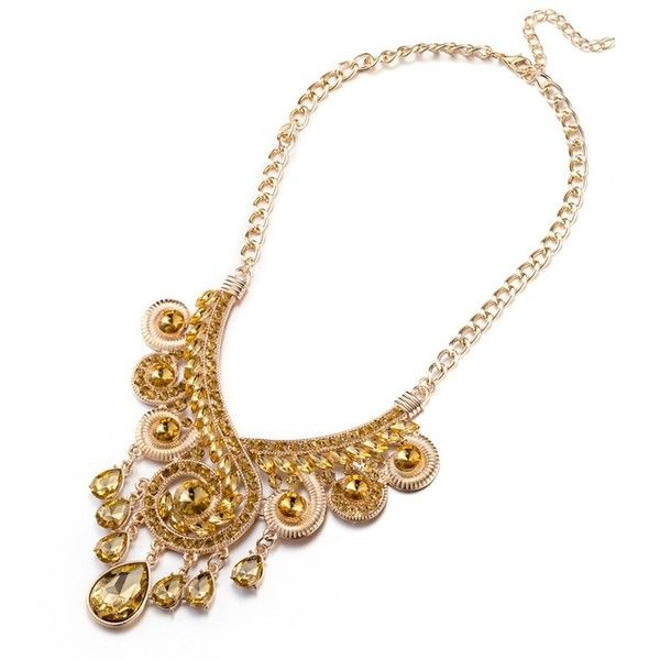 Rubique Jewelry Gold Plated Swarovski Citrine Swirl Statement Necklace ($14) ❤ liked on Polyvore featuring jewelry, necklaces, yellow, statement bib necklace, citrine pendant, yellow pendant, statement pendant necklace and citrine necklace