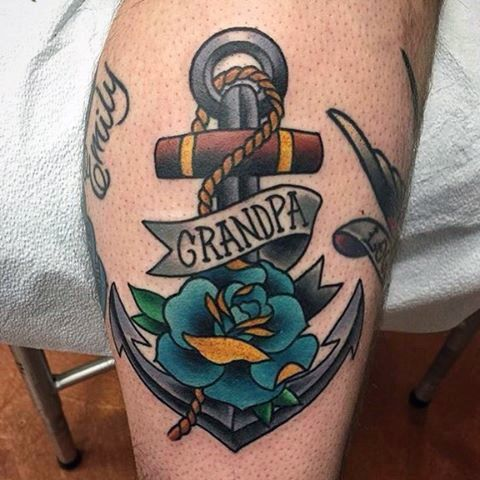 Grandpa Traditional Anchor Memorial Male Tattoos With Blue Ink Rose Design