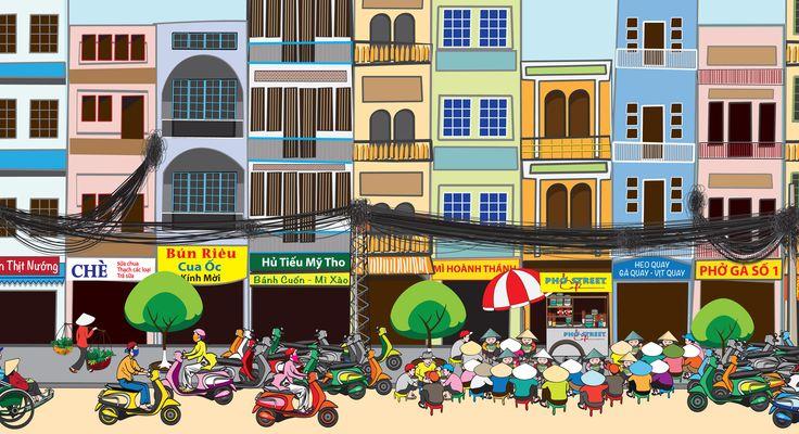 Detail of mural I designed for pho restaurant: 36 feet wide x 10 feet tall Saigon street food mural.