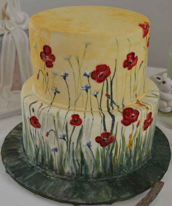 Painting cake with poppies - by rosa castiello @ CakesDecor.com - cake decorating website