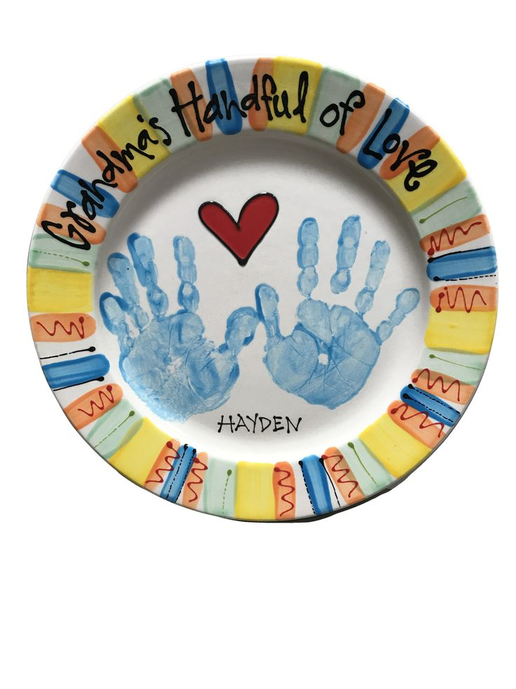 Hand Print Plate Painted at As You Wish Pottery