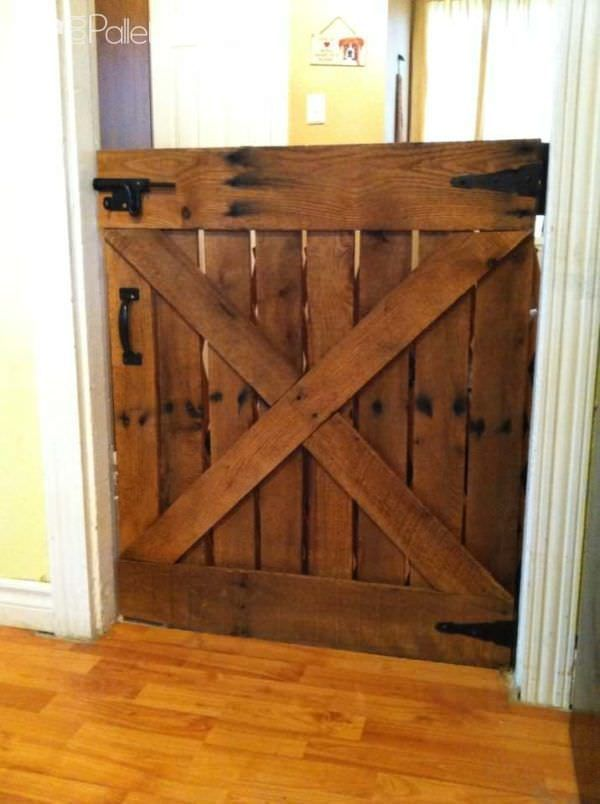 #Gate, #Kids, #RecyclingWoodPallets I took an old pallet, took it apart and looking at a picture of an old barn door, designed this gorgeous gate. I added a quick coat of stain and there you go!